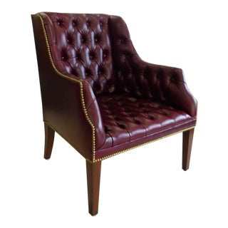 Maitland Smith Tufted Leather Arm Chair or Office Guest Chair For Sale