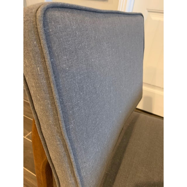 White Pair of Mid-Century Gray Linen Chairs For Sale - Image 8 of 11
