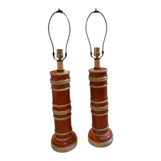 Ceramic Bamboo Table Lamps - a Pair For Sale
