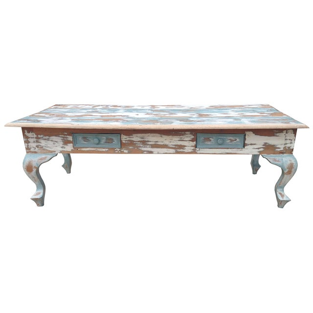 Distressed Coffee Table in Blue and White - Image 1 of 4