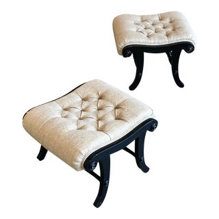 Ebonized Tufted Ottomans - A Pair For Sale