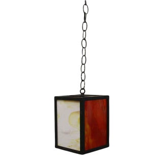 Modern Red & White Iron & Stained Glass Pendant Light For Sale