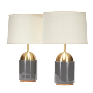 Noor Lamp in Reykjavik Glaze With Satin Brass Dome - a Pair For Sale