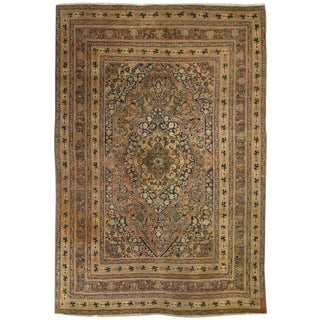 Antique Persian Haj Jalili Tabriz Rug For Sale