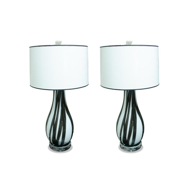 2010s Pair of Italian Handblown Flask Shaped Lamps For Sale - Image 5 of 5