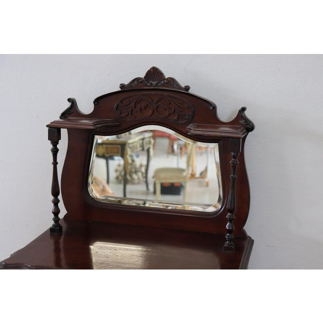 Mediterranean 19th Century English Mahogany Carved Antique Vitrine or Display Cabinet For Sale - Image 3 of 11