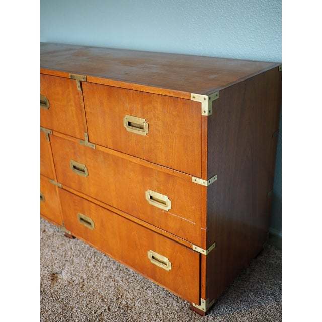 Campaign 20th Century Campaign Baker Furniture Mahogany Dresser For Sale - Image 3 of 9