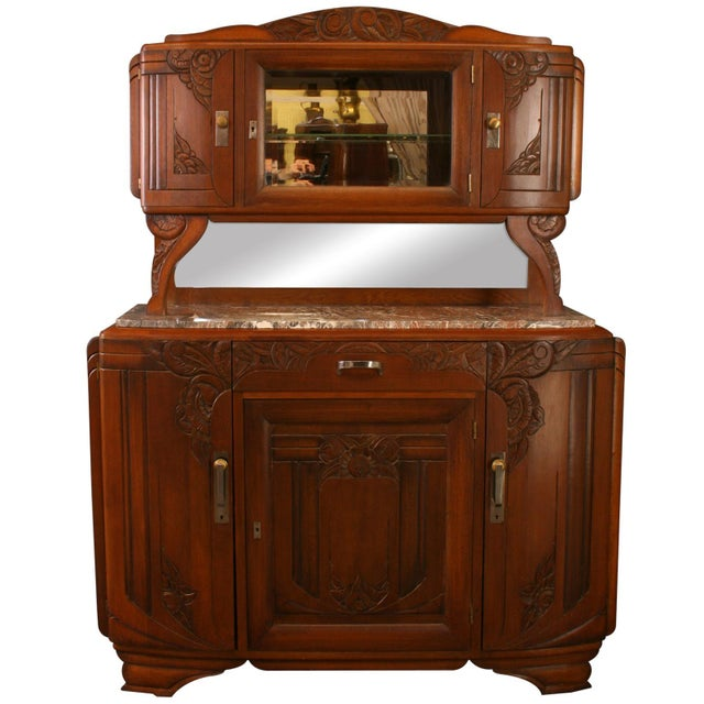 1920 French Art Deco Carved Walnut Buffet For Sale