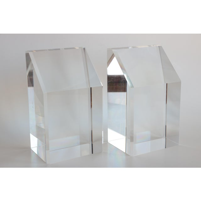 Faceted Lucite Bookends - A Pair - Image 4 of 10