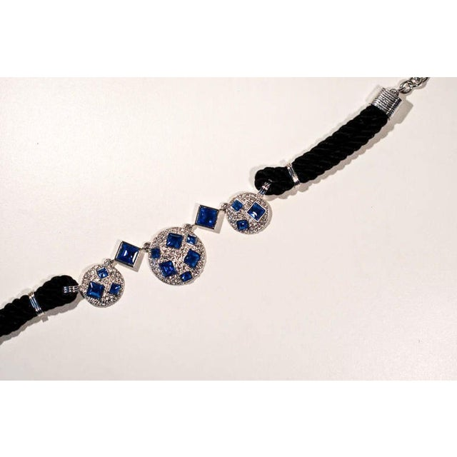 Metal Circa 1990 Yves Saint Laurent Blue Rhinestone, Silk and Silver-Toned Metal Necklace For Sale - Image 7 of 8