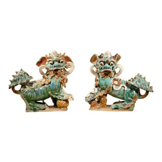 Pair of Glazed Pottery Shishi Lions