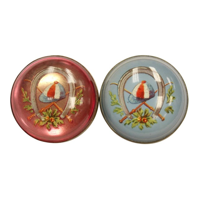 "Red & Blue ""Jockey Cap"" Brass Harness Buttons - A Pair - Image 1 of 5"