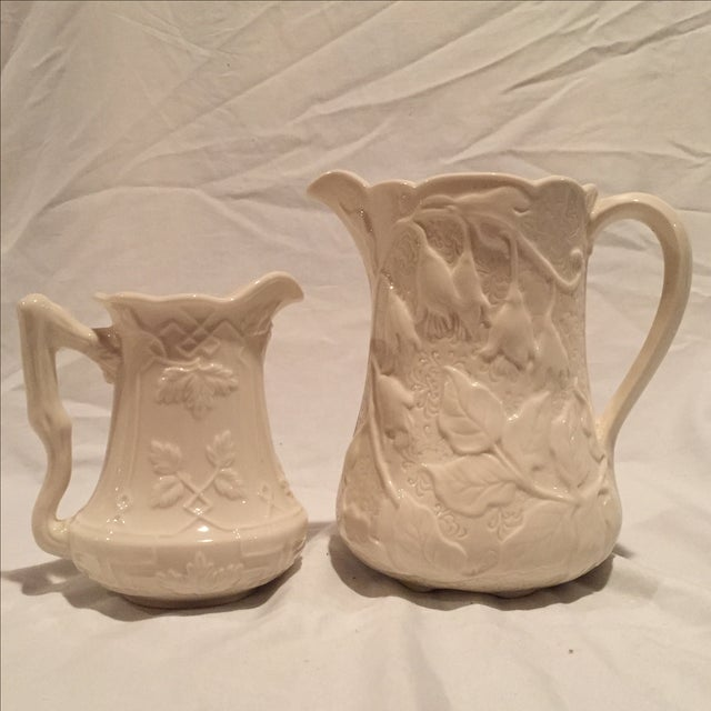 Creme Porcelain Water Pitchers - A Pair - Image 2 of 7