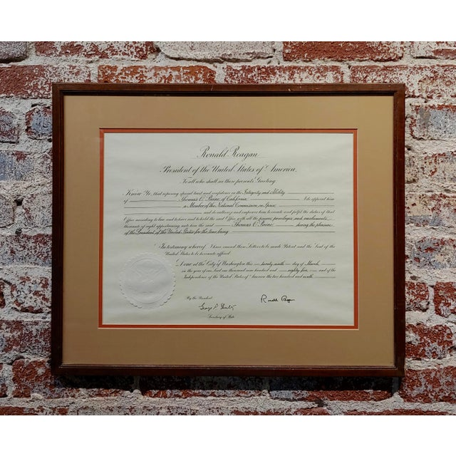 Glass Ronald Reagan Signed Presidential Appointment to Thomas Paine for Space Commission For Sale - Image 7 of 7