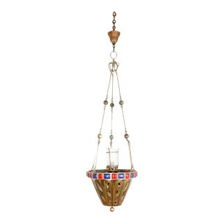 Brass Pendant With Red & Blue Enamel Detailing For Sale