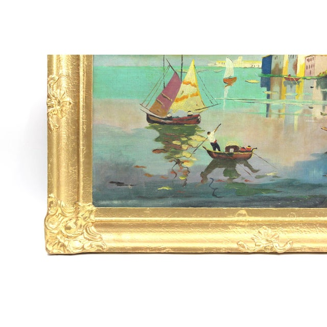1930s Beach Mediterranean Fine Oil Painting - Image 3 of 9
