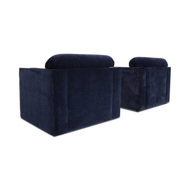 Italian Glam Armchairs in Dark Blue Velvet & Brass For Sale - Image 4 of 10