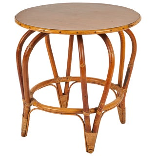 Round Mid-Century Bamboo and Rattan Side or Coffee Table With Laminated Top For Sale