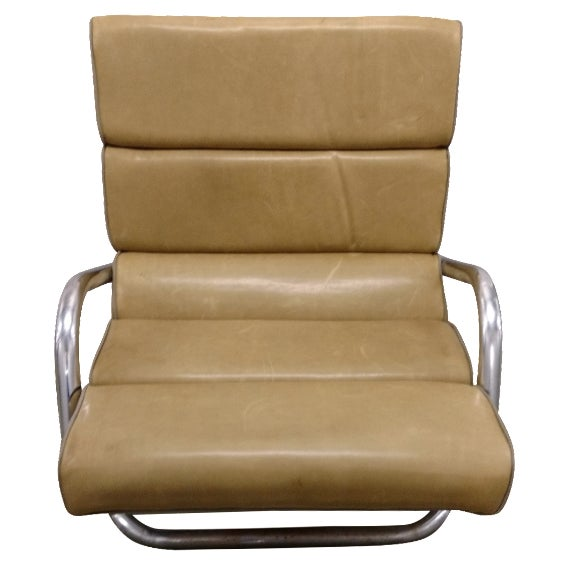 Mid-Century Chrome and Leather Lounge Chair - Image 1 of 4