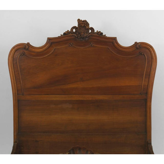 Late 19th Century Turn of the Century French Louis XV Style Walnut Bed For Sale - Image 5 of 7
