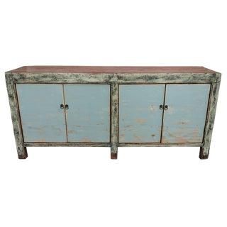 Blue Distressed Antique Gansu Sideboard For Sale