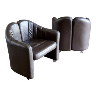 1975 Mid-Century Modern Exklusiv Leather Club Chairs - a Pair For Sale
