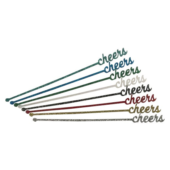 Green Glitter Cheers Drink Stirrers - Set of 6 - Image 1 of 6