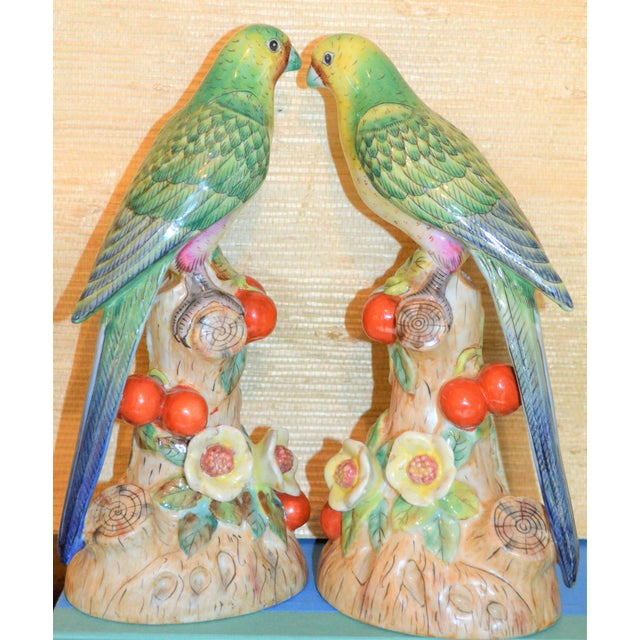 1980s Vintage Green Majolica Parakeets Figurines - a Pair For Sale - Image 4 of 8