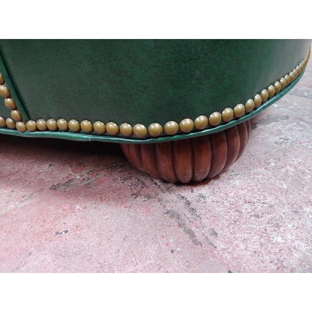 Animal Skin Hancock & Moore Tufted Green Leather Club Chair with Ottoman For Sale - Image 7 of 11