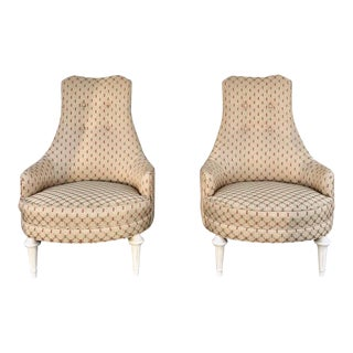 1960s Hollywood Regency High Back Chairs - a Pair For Sale