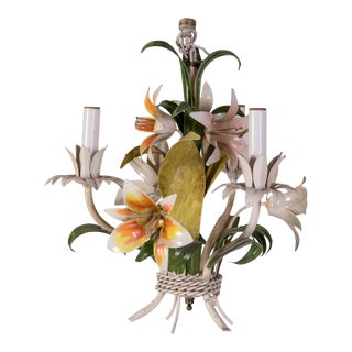Madcap Cottage Tole Lily 3-Light Chandelier For Sale