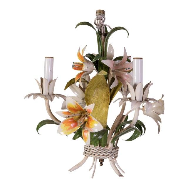 Madcap Cottage Tole Lily 3-Light Chandelier For Sale