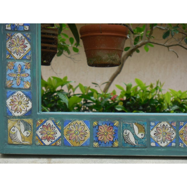 Hand Painted Persian Tile Mirror - Image 5 of 11