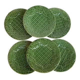 1980s Vintage Bordallo Portugal Majolica Leaf and Lattice Plates - Set of 6 For Sale