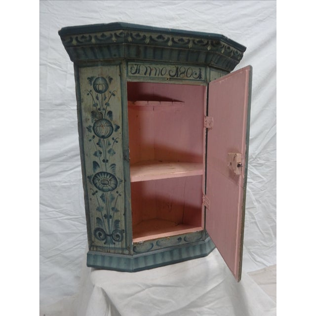 Swedish Original Painted Hanging Corner Cabinet For Sale In Miami - Image 6 of 6