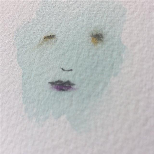 """Minimal Face 006"" Mixed Media Painting - Image 4 of 5"