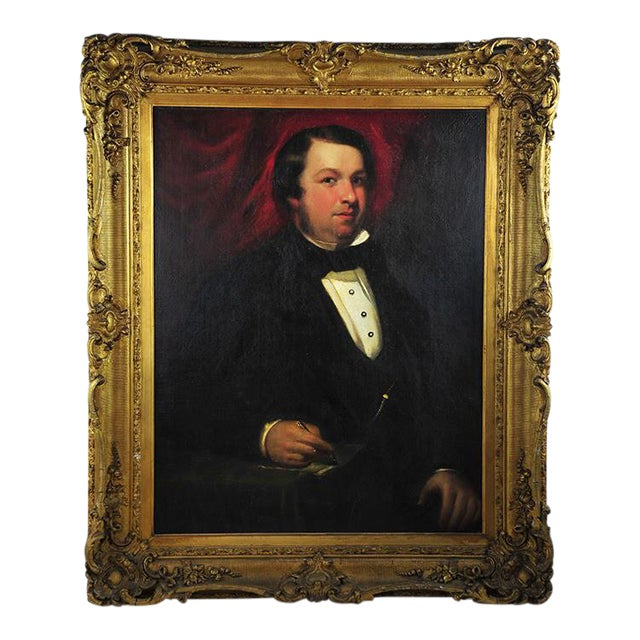"""19th Century Portrait of an English Gentleman in Ornate Gilt Frame - 28.25"""" x 36"""" For Sale"""