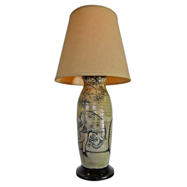 Large Hand Painted Ceramic Table Lamp For Sale