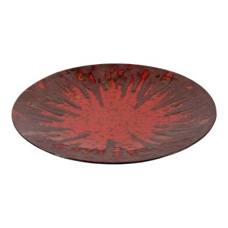 1990s Very Large Vietnamese Red Lacquer Charger For Sale