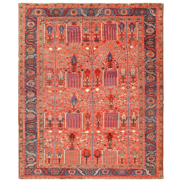 Antique Heriz Persian Rusty Red Background Rug - 9′7″ × 11′7″ For Sale - Image 11 of 11