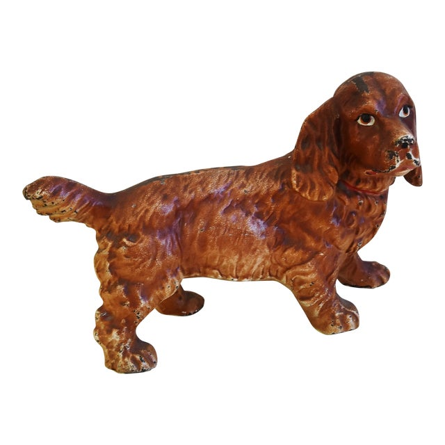 Charming Vintage Cast Iron Dog Figure Doorstop For Sale