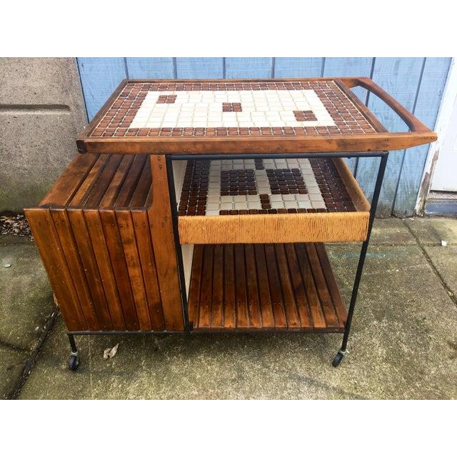 Boho Chic Arthur Umanoff Mid-Century Bar Cart For Sale - Image 3 of 11