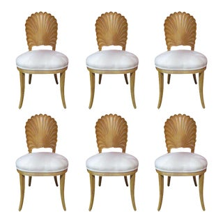 Six Italian Decorative Venetian Shell Back Dining Chairs For Sale