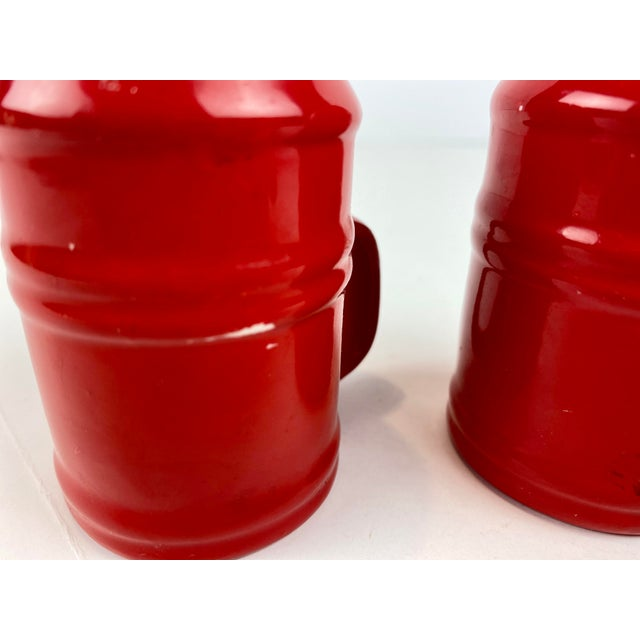 Red Mid-Century Modern Vintage Japanese Glazed Red Ceramic Salt and Pepper Shakers - a Pair For Sale - Image 8 of 10