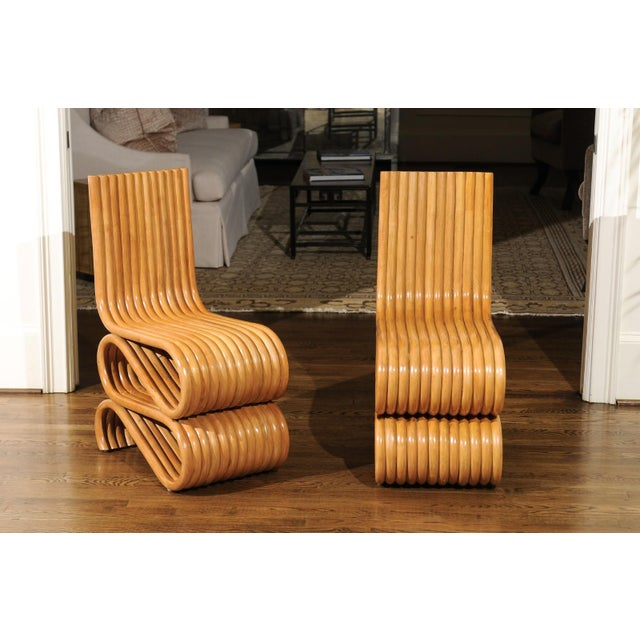 Tan Exquisite Set of 8 Radiant Custom-Made Rattan Dining Chairs, Circa 1995 For Sale - Image 8 of 13