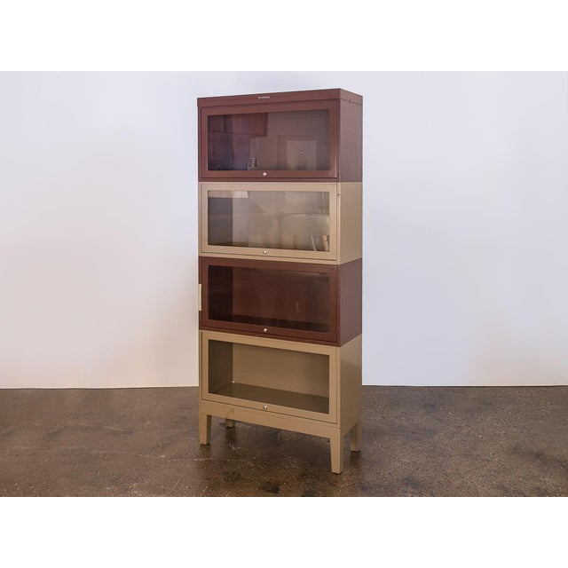 Two-Tone Tall Metal Barrister Bookcases - 2 pieces For Sale - Image 9 of 9