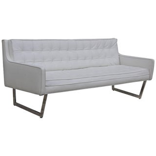 Patrician Furniture Leather and Chrome Sofa For Sale