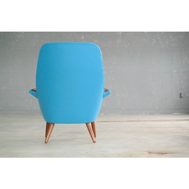 Blue Danish 1950s Lounge Chair with Teak Armrests Upholstered in Kvadrat Divino Wool For Sale - Image 8 of 11