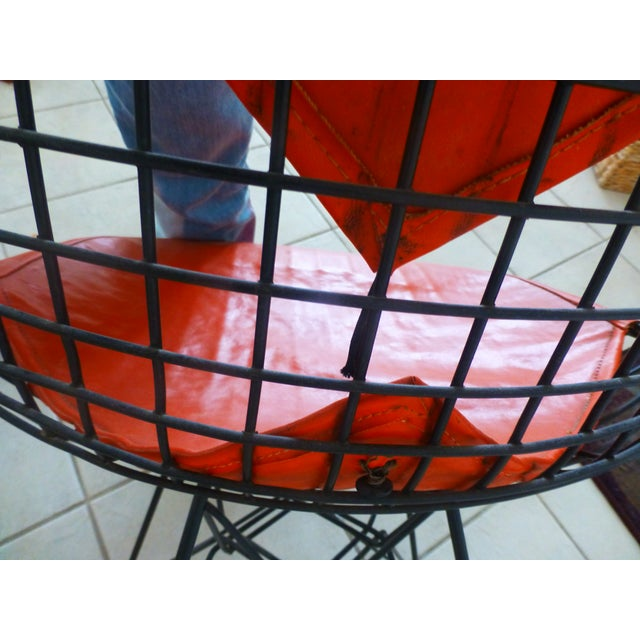 Mid-Century Eames Wire Orange Bikini Chair For Sale - Image 9 of 10