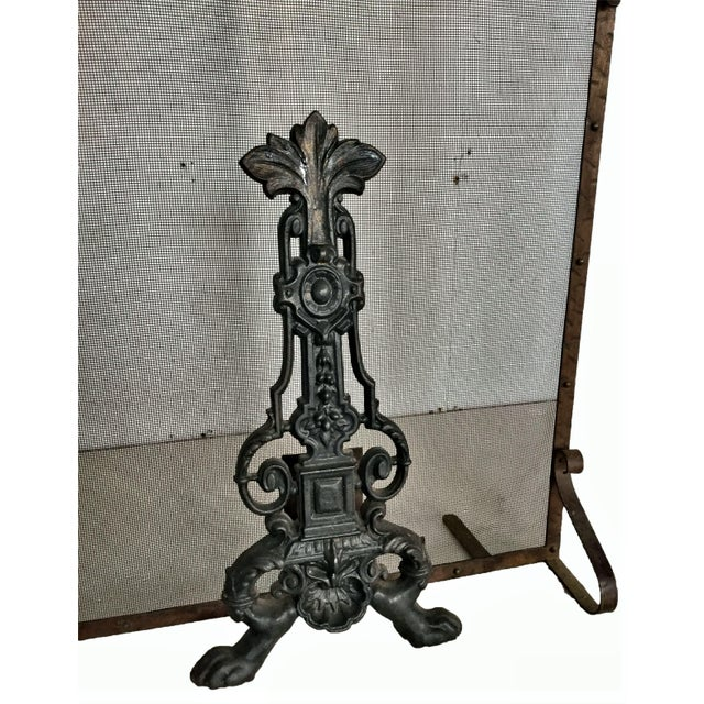 Early 19th Century Early 19th Century Antique French Fireplace Screen and Andirons - Set of 3 For Sale - Image 5 of 12